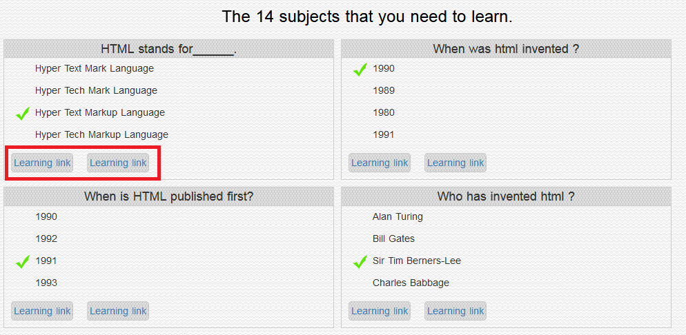 HTML Skill Tester