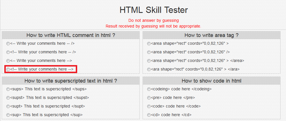 HTMLSKILLTESTER